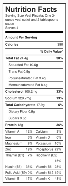Veal Piccata Nutrition Label. Each serving is one 3-ounce veal cutlet and 2 tablespoons sauce.