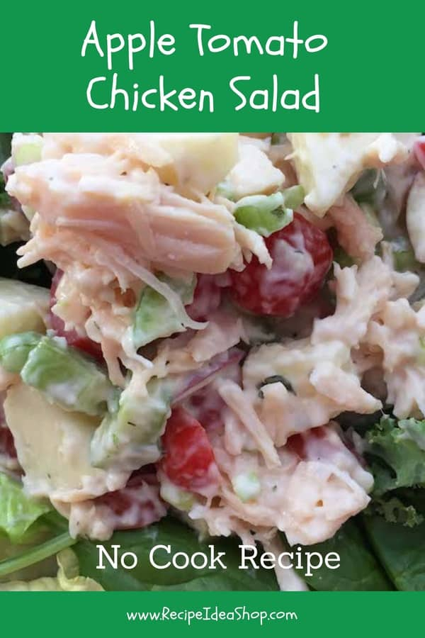 Apple Tomato Chicken Salad. Crunchy & Sweet. So Good. 10 minutes! #appletomatochickensalad; #chickensaladrecipes; #chickenrecipes; #chicken; #recipes; #recipeideashop
