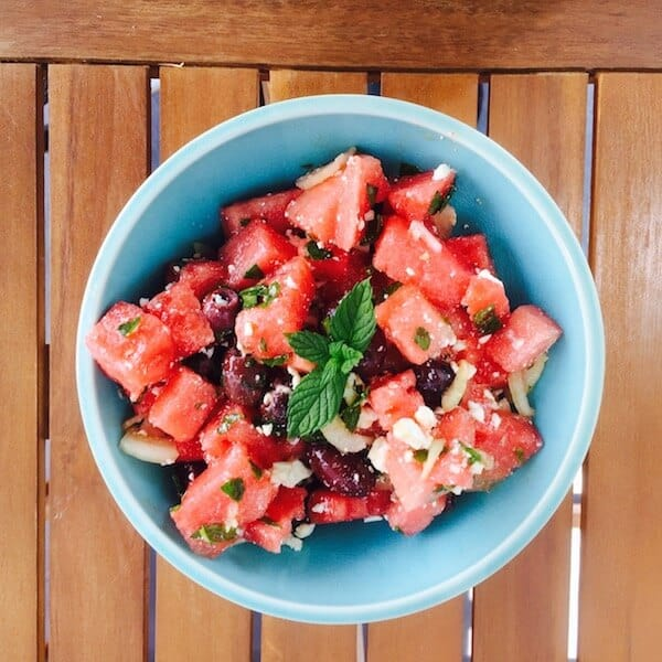 Watermelon Olive Mint Salad with Feta, such a delightful summer salad. #watermelon