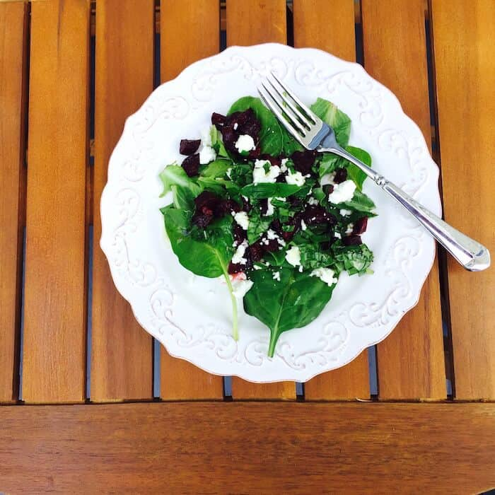 Roasted Beet Salad, topped with feta cheese