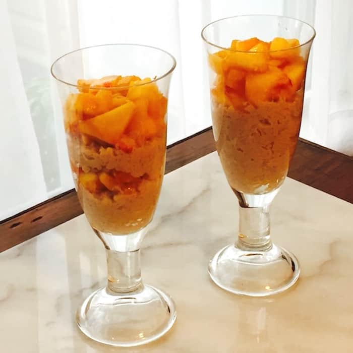 Cinnamon Rice Pudding with Peaches, a simple dessert.