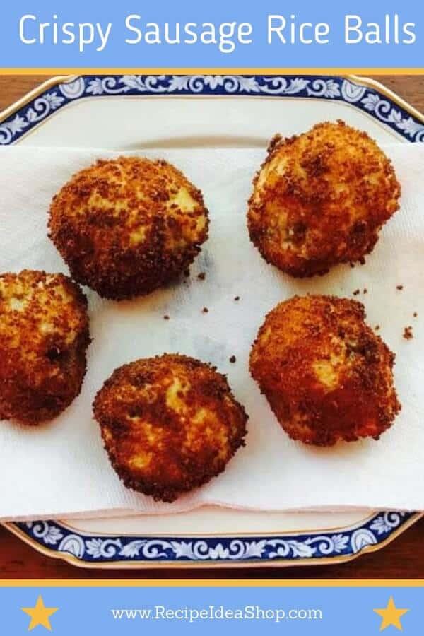Italian Rice Balls. Crispy Sausage Rice Balls. OMG. Try it with pasta sauce. #crispysausagericeballs #leftoverrice #ricerecipes #sausagericeballs #riceballs #crispyrice #italianrecipes #glutenfree #recipes #recipeideashop