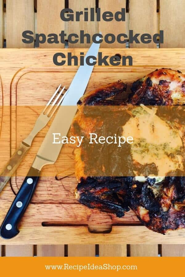 Spatchcocked Grilled Chicken. The skin looks burned but it is SO good. Easy. #grilled-spatchcocked-chicken #spatchcocked #grilled-chicken #recipes #grilling #recipeideashop