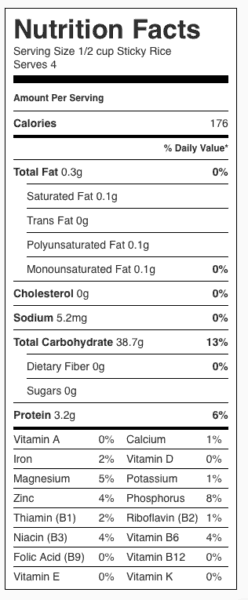 Sticky Rice Nutrition Label. Each serving is 1/2 cup.