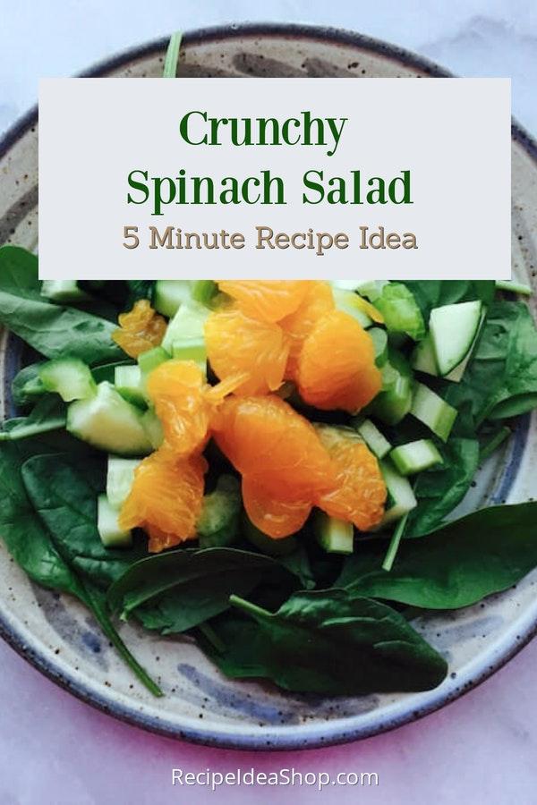 Crunchy Spinach Salad. 4 ingredients. 5 minutes. So tasty. #crunchyspinachsalad #spinachsalad #saladrecipes #eatbetter #comfortfood #glutenfree #recipes #recipeideashop