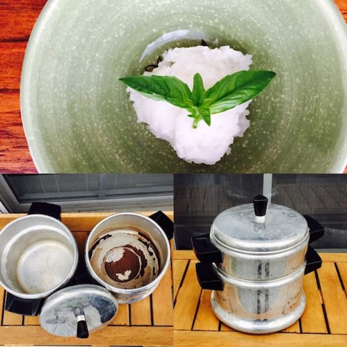 Old-fashioned double boiler Rice Cooker and Sticky Rice.