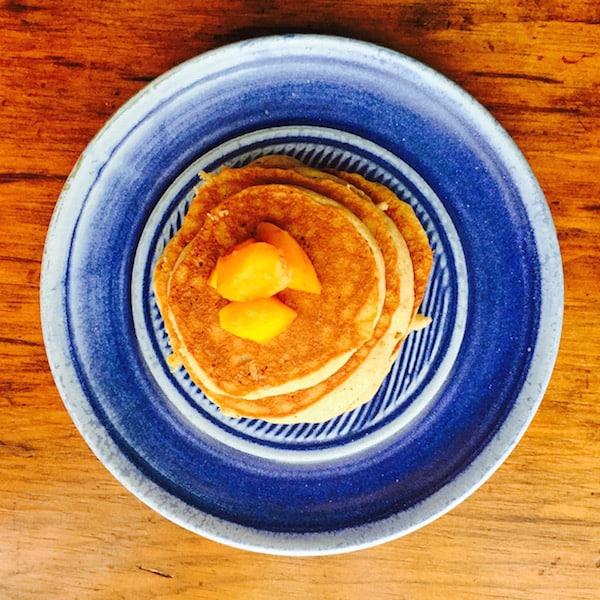 Easy Cinna Bon Bon Pancakes with Peaches. They taste a lot like cinnamon rolls.