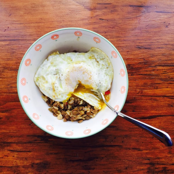 Lentil Rice Bowl with an Egg on Top. My fav!