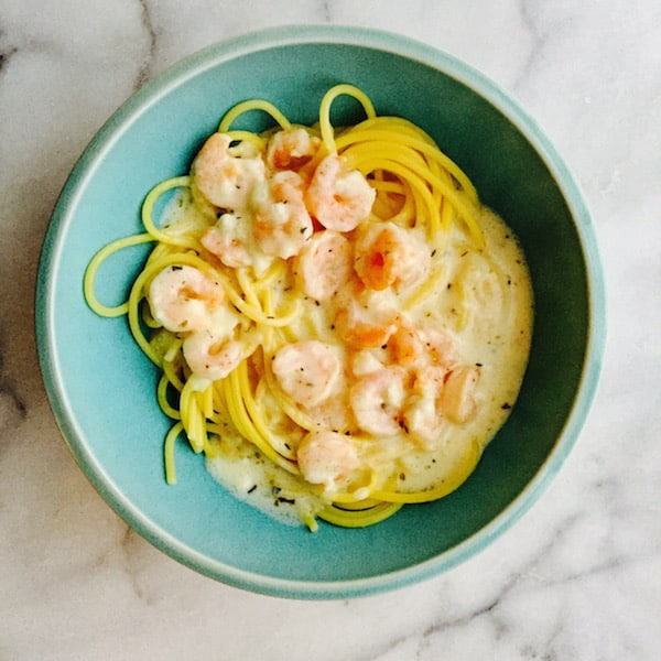 Easy Shrimp Alfredo over Gluten Free Pasta