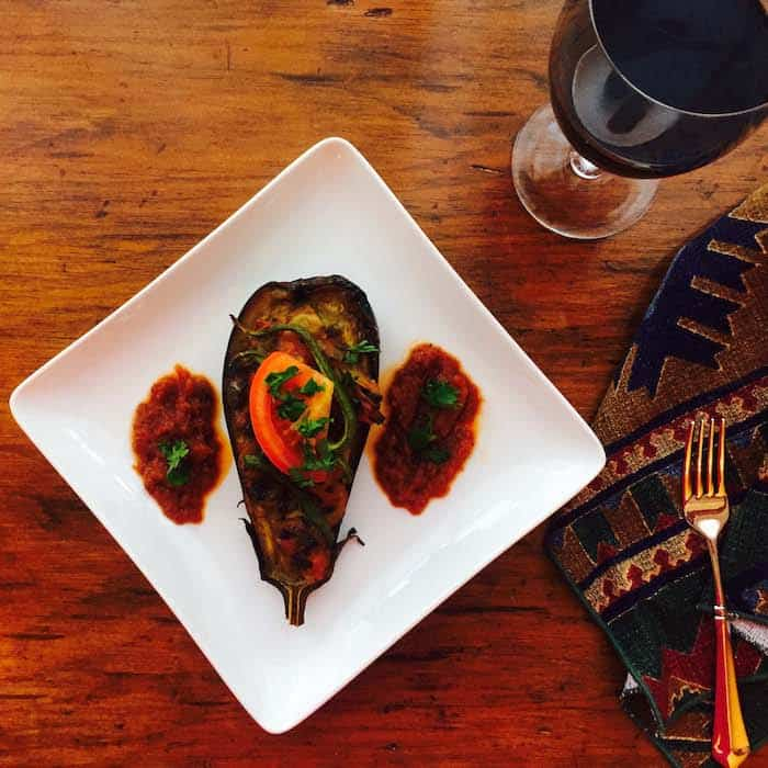 Stuffed with vegetables, this baked eggplant is delish!