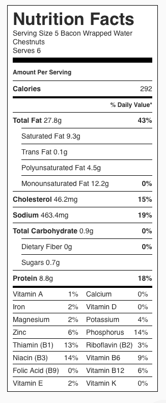 Bacon Wrapped Chestnuts Nutrition Label. Each serving is 5 Bacon Wrapped Water Chestnuts.