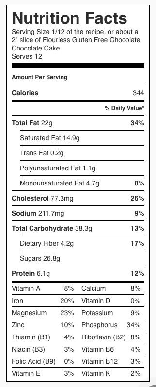 "Flourless Gluten Free Chocolate Chocolate Cake Nutrition Label. Each serving is 1/12 the cake, or about a 2"" piece of frosted cake."