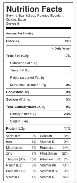 Roasted Eggplant Quinoa Salad Nutrition Label. Each serving is about 1/2 cup.