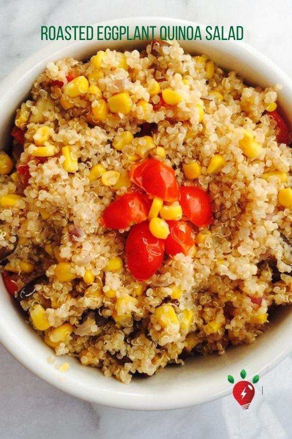 Amazing vegan main dish salad! And it takes less than 30 minutes. #RoastedEggplantQuijoaSalad #quinoa #eggplant #glutenfree #vegan #recipes #HealthyTwist #RecipeIdeaShop