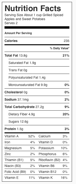 Grilled Spiced Apples and Sweet Potatoes Nutrition Label. Each serving is about 1 cup.