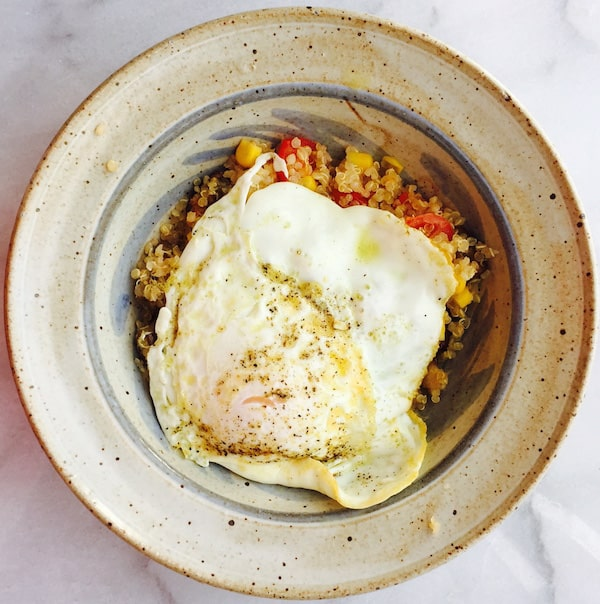 Roasted Eggplant Quinoa Salad with an Egg on Top