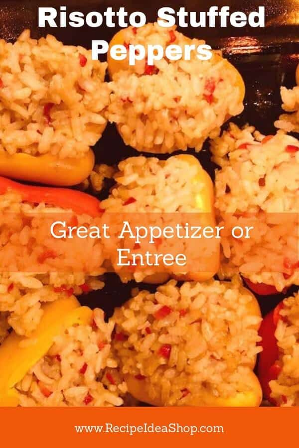 Risotto Stuffed Peppers Recipe. Veganly Virtuoso. #risottostuffedpeppers #veganrisottostuffedpeppers #veganrisotto #veganrecipes #glutenfree #recipes #recipeideashop