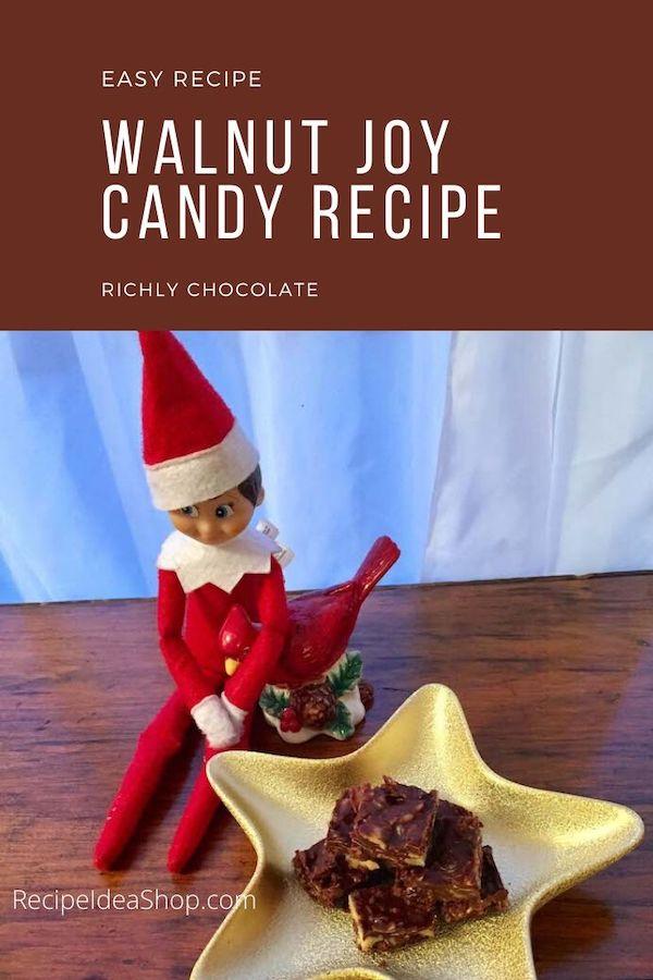Walnut Joy Candy, like fudge with coconut. Easy recipe. It will be hard not to eat it all! #walnutjoycandy #candyrecipes #desserts #candy #glutenfree #recipeideashop