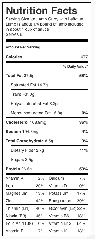 Lamb Curry Nutrition Label. Each serving is about 1 cup.