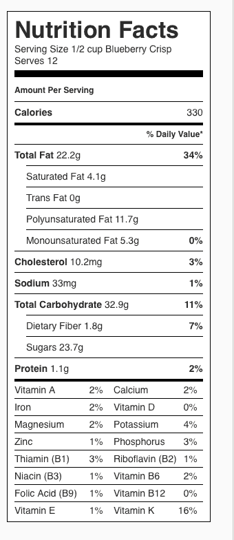 Blueberry Crisp Nutrition Label. Each serving is about 1/2 cup; recipe serves 12.