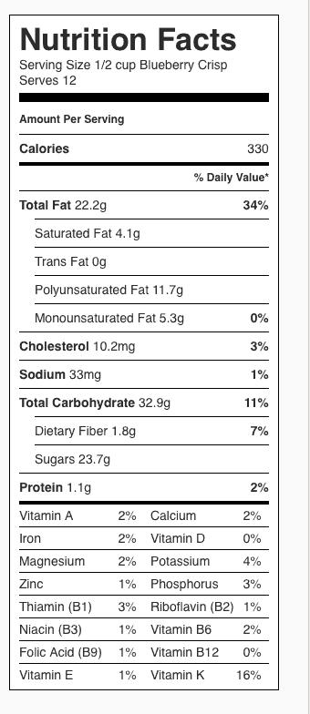 Blueberry Crisp Nutrition Label. Each serving is about 1/2 cup; recipe serves 12.