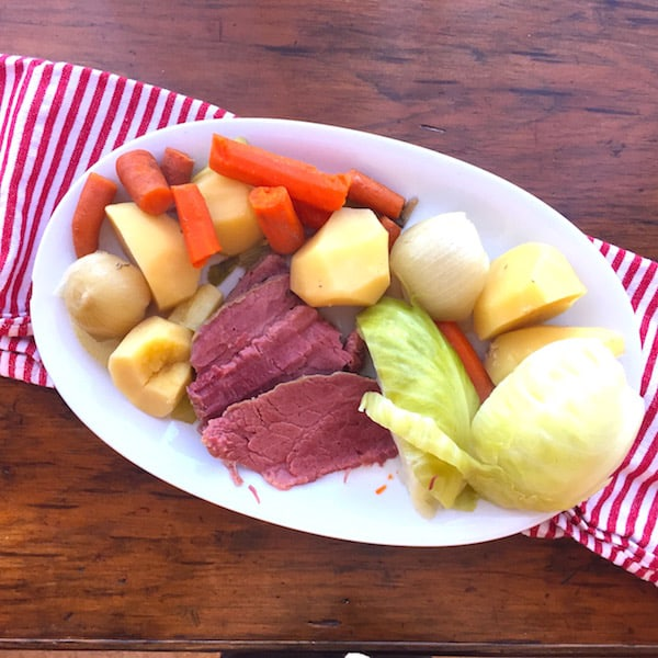 Slow Cooker Corned Beef & Cabbage Dinner. Moist. Easy. 15 minutes prep. Done when you get home from work.