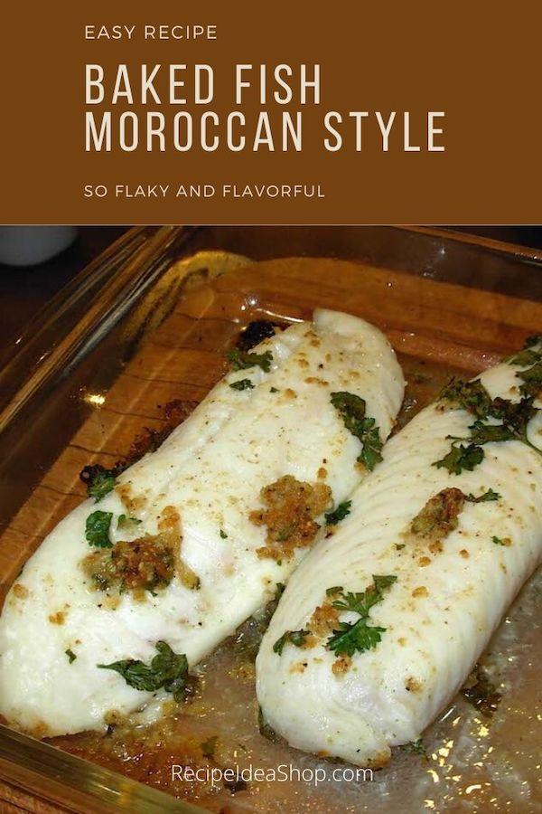 This Moroccan Cumin Fish recipe is super easy. The fish is flaky and flavorful. #moroccancuminfish #bakedfish #healthybakedfish #fishrecipes #halal #easyrecipes #comfortfood #glutenfree #recipes #recipeideashop