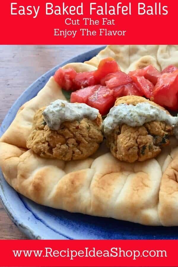 EASY Baked Falafel Balls. Simple. Sauté the onions, smoosh everything up, bake, eat. Yum! #BakedFalafelBalls, #RecipeIdeaShop
