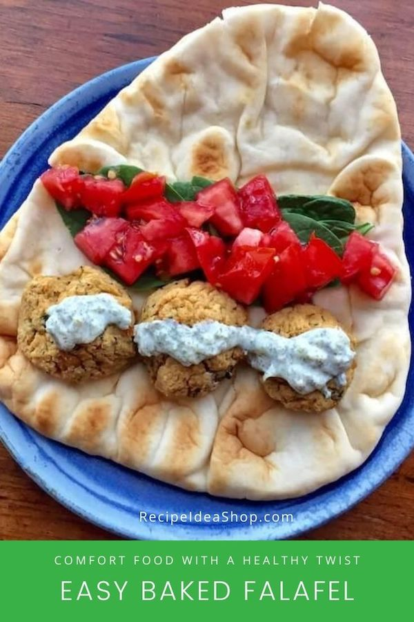 Baked Falafel Balls. Easy. Yummy. Lower fat. #bakedfalafelballs #falafelrecipe #glutenfree #vegan #recipes #comfortfood #recipeideashop