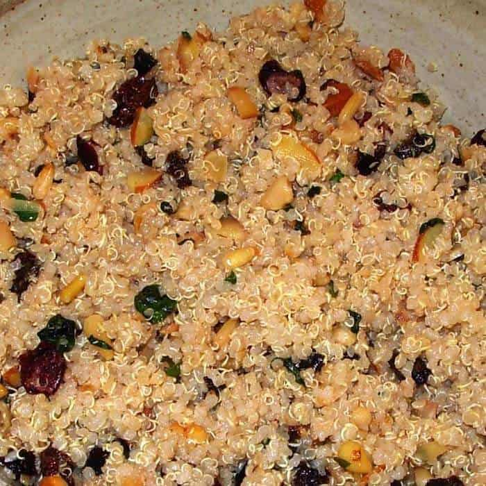 Quinoa Fruit Nut Salad has a light dressing.