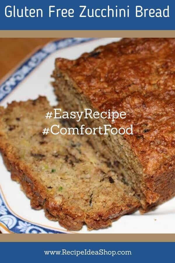 Gluten Free Zucchini Bread. So tasty. Easy recipe. #glutenfreezucchinibread #glutenfree #zucchinirecipes #zucchini #comfortfood #recipes #recipeideashop