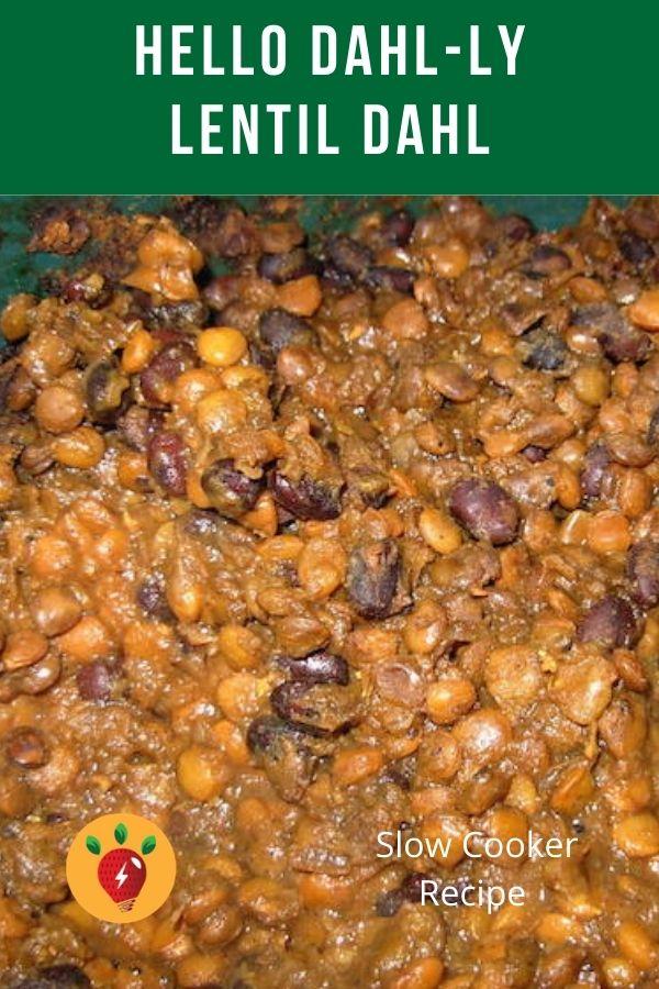 Slow Cooker Lentil Dahl recipe. Delicious Indian flavoring. #LentilDahl #SlowCooker #recipes #GlutenFree #ComfortFood #RecipeIdeaShop