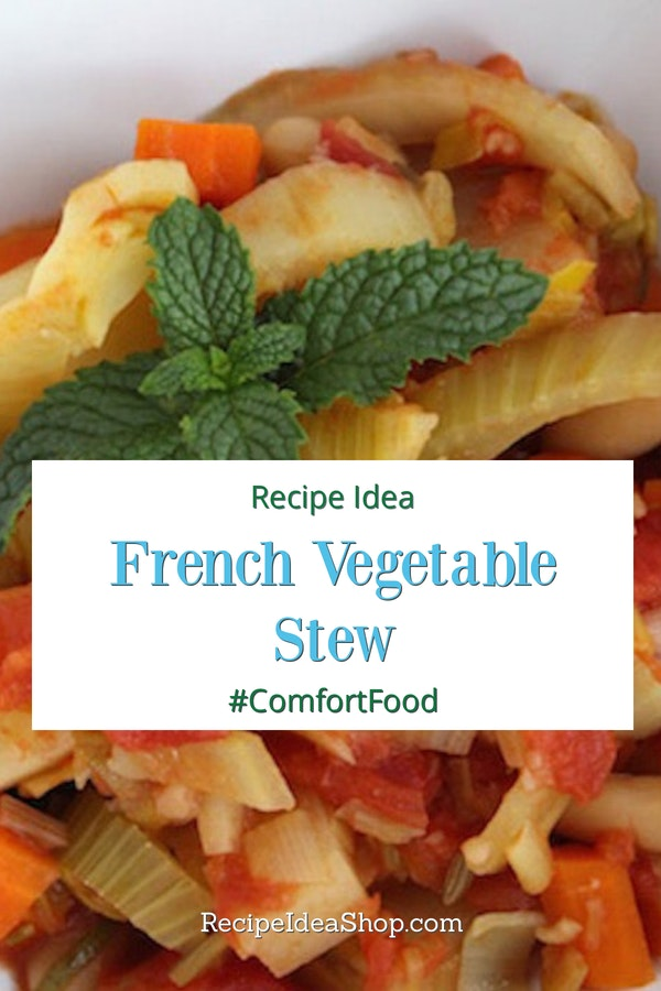 French Vegetable Stew is vegan and amazing. Don't you love #FrenchFood? #frenchvegetablestew #vegan #glutenfree #french-recipes #recipes #recipeideashop