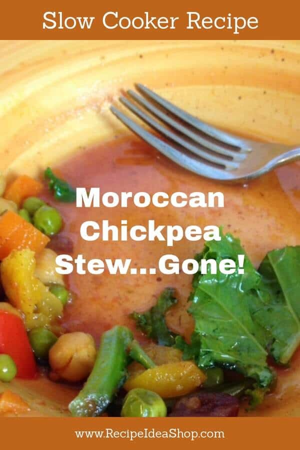 Moroccan Chickpea Stew. Easy slow cooker recipe. Packed with goodness and flavor. #moroccanchickpeastew, #slowcookerrecipe, #chickpeas, #garbanzo, #recipeideashop