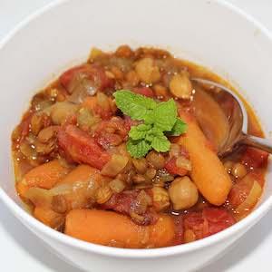 Slow Cooker Mediterranean Chickpea Lentil Soup