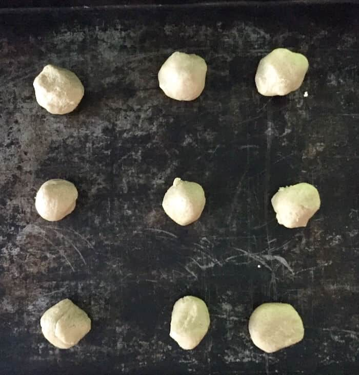 "Roll into 1"" balls, 15 to a cookie sheet."
