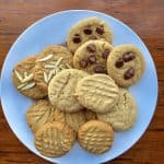 Homemade Peanut Butter Cookies with a variety of toppings.