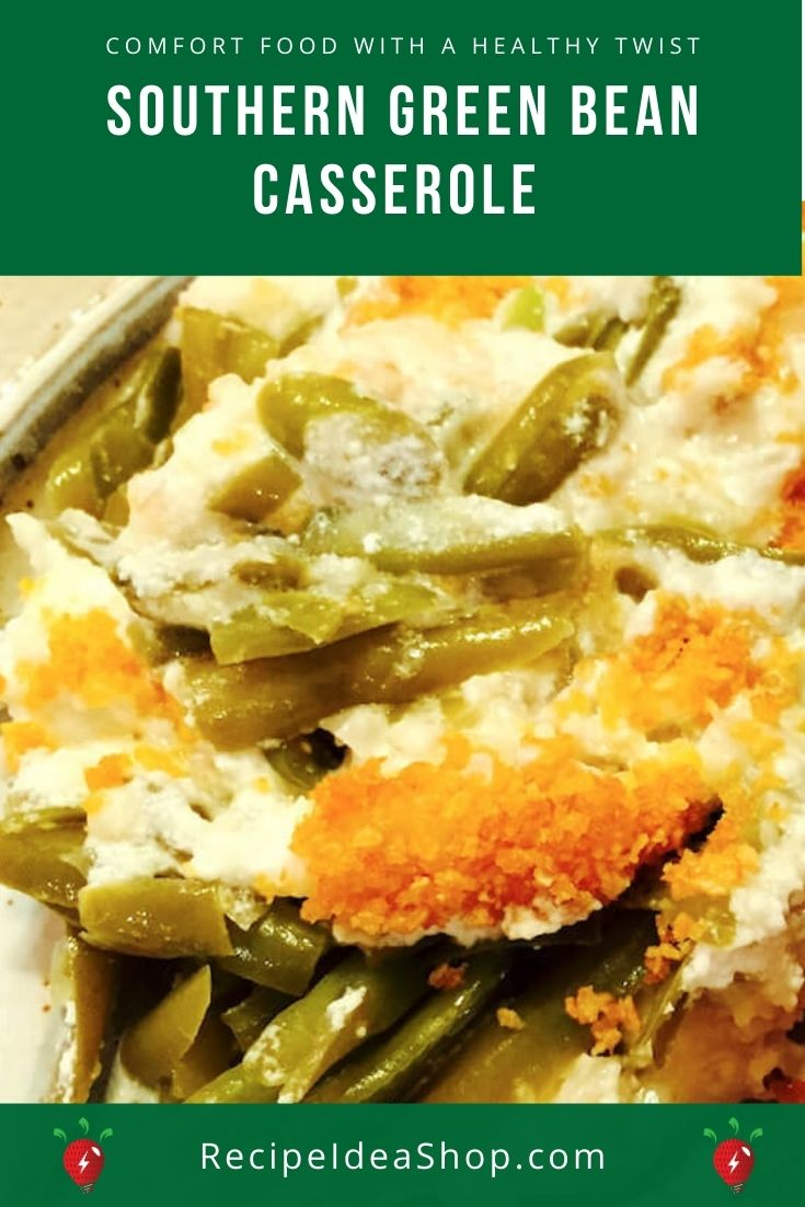 Southern Green Bean Casserole is made with cheese and no mushrooms or soup! #southerngreenbeancasserole #greenbeancasserole #southernrecipes #recipes #recipeideashop