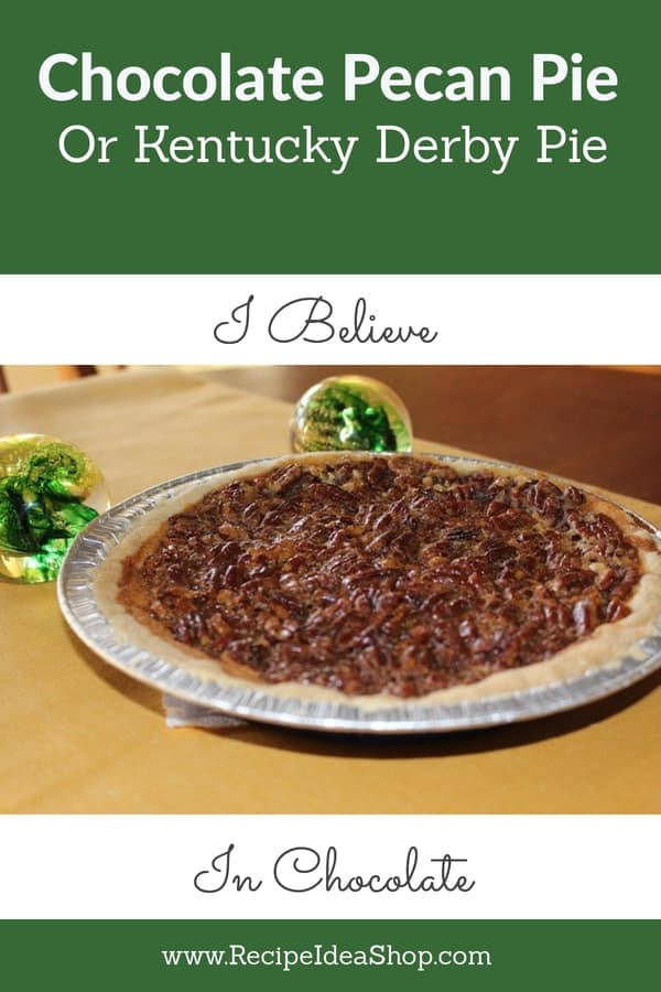 Chocolate Pecan Pie, AKA, Derby Pie, is so delicious. But easy. Even a 10-year-old can make it. #chocolatepecanpie, #chocolate-pecan-pie, #pecanpiewithchocolate, #derbypie, #recipideashop