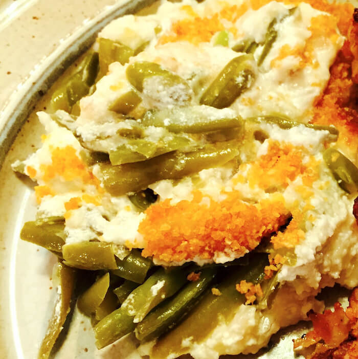 Southern Green Bean Casserole is made with cheese, not soup.