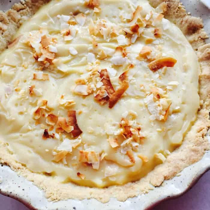 Creamy, delicious Cocconut Cream Pie in a Gluten Free Pie Crust