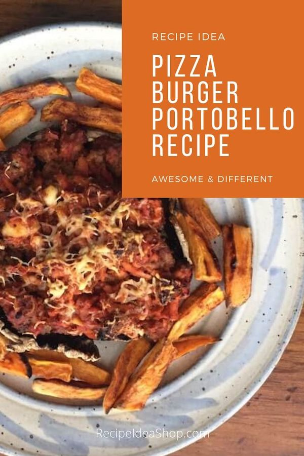 You aren't going to believe how amazing this Pizza Burger on a Portobello is. And NO BREAD. #pizzaburger #pizzaburgerportobello #pizza #lowcarb #food #partyfood #recipes #comfortfood #recipeideashop