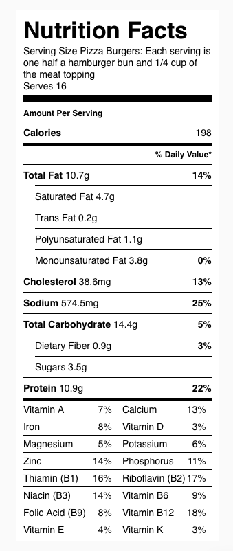 Pizza Burger Nutrition Label. Each serving is 1/2 a hamburger bun and 1/4 cup of pizza burger mix.