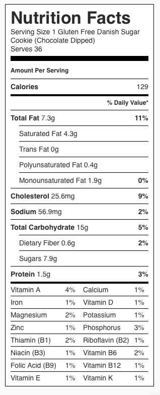 CHOCOLATE DIPPED Gluten Free Danish Sugar Cookie Nutrition Label. Each serving is one cookie dipped in chocolate.