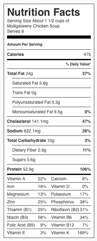 Nutrition Label: Mulligatawny Chicken Soup. Each serving is about 1 1/2 cups.
