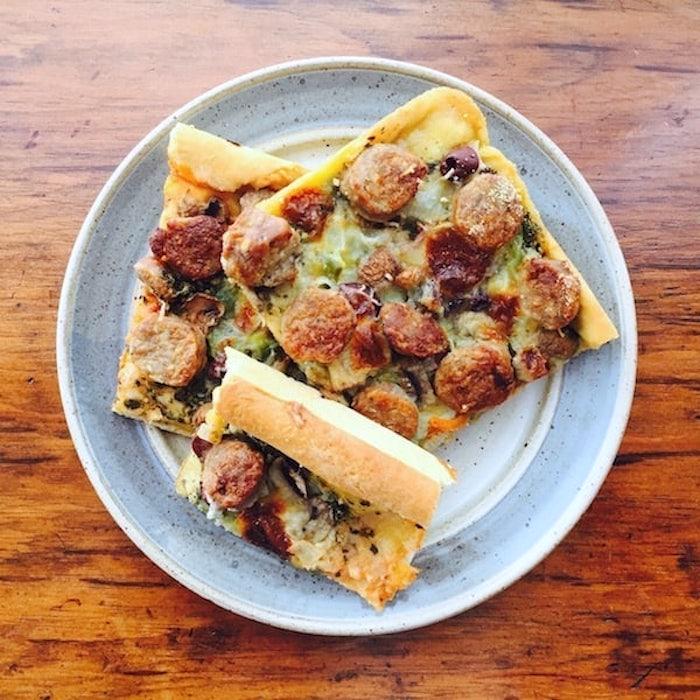 Mmmmm. Pesto Pizza.