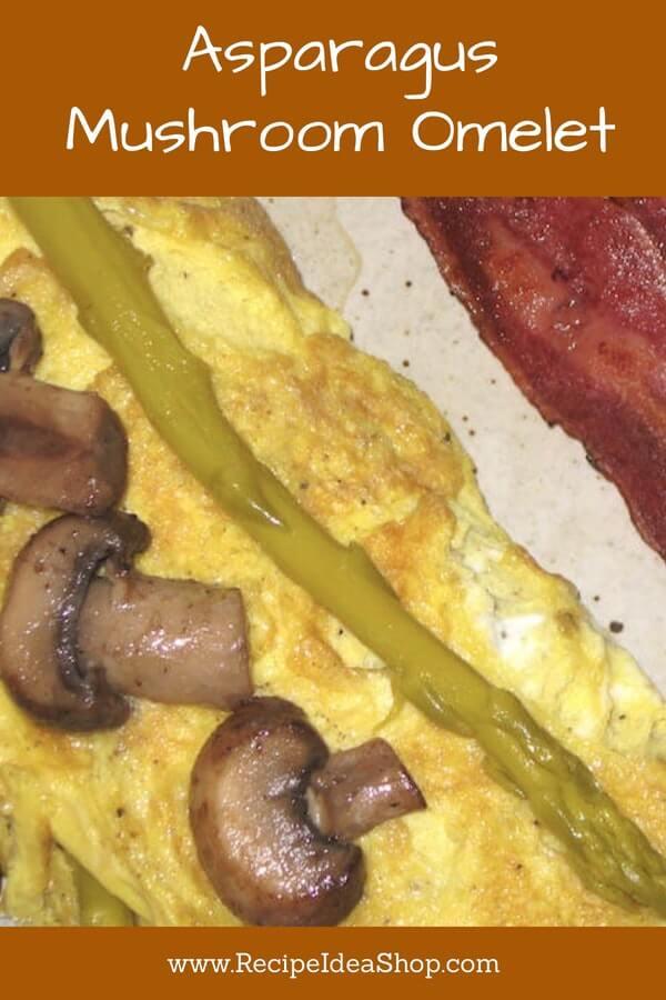Use fresh asparagus in this Asparagus Mushroom Omelet. Great instructions! #asparagusandmushroomomelet; #asparagusmushroomomelet; #recipes; #omeletrecipes; #southbeach; #glutenfree, #recipeideashop