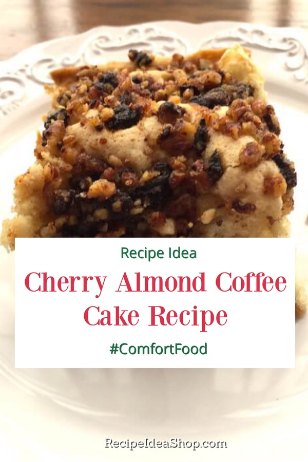 Easy Cherry Almond Coffee Cake, topped with cherries & pecans. Oh my! #cherryalmondcake #almondcake #breakfast #coffeecake #glutenfree #recipes #recipeideashop