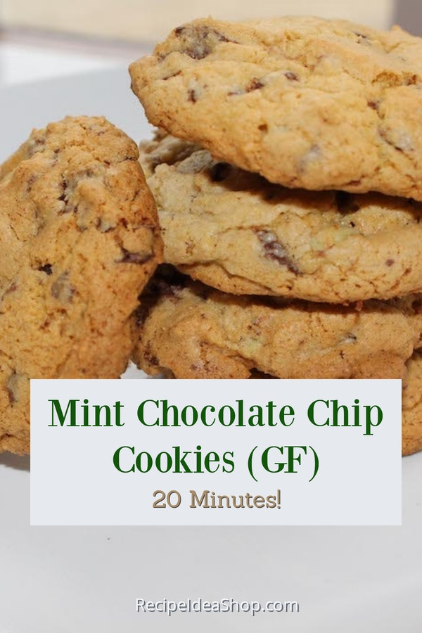 Mint Chocolate Chip Cookies (Gluten Free). So scrumptious! Don't worry about sharing. Just tell everyone they are GF and they won't eat them. More for you. #mintchocolatechipcookies #glutenfree #moreforme #cookies #recipes #recipeideashop