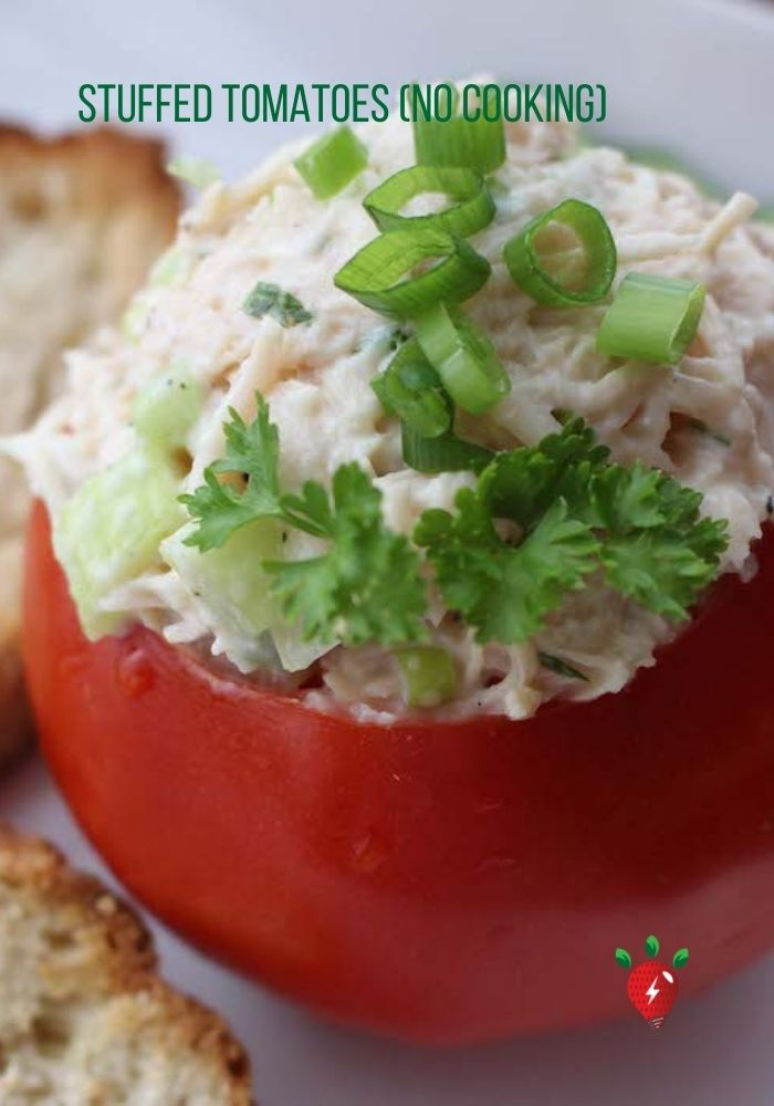 Stuffed Tomatoes. Scrumptious & no cooking? Awesome! #StuffedTomatoes #EasyRecipe #Recipes #HealthyTwist #RecipeIdeaShop